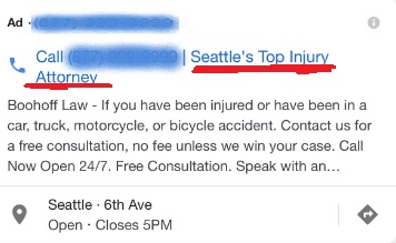 Boohoff Law Google Adwords Seattle's Top Injury Attorney