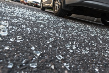 Broken Glass on the Road After a Car Wreck
