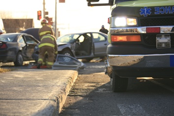 Emergency Workers at a Car Crash Scene