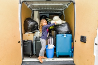 Child With a Moving Van That Is Moving Out of Virginia