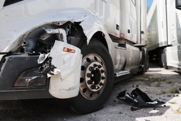 Damaged Front-End of a Semi-Truck