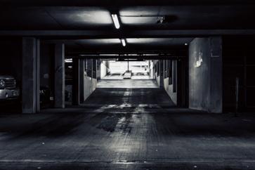 Dark Parking Garage With Inadequate Lighting