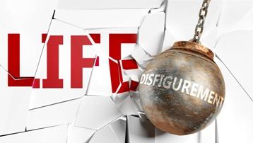 Disfigurement Wrecking Ball Smashing into a LIFE Sign