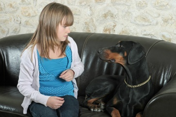 Dog and Child Looking at Each Other on a Couch