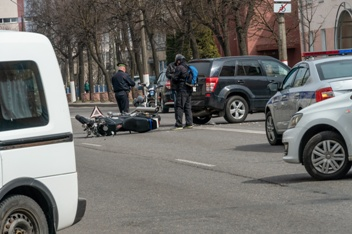 Motorcycle Wreck in the Middle of the Road