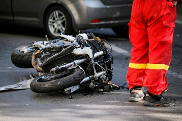 Smashed Motorcycle on the Side of the Road
