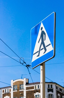 Pedestrian Signage on a Road