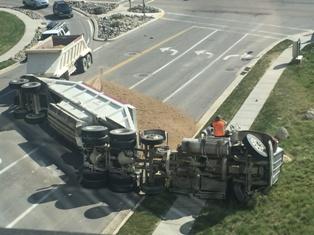A Semi-Truck Jackknife Wreck on a Busy Road