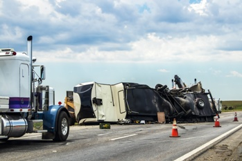 Wreckage of a Semi-Truck That Was Involved in a Drunk Driving Wreck
