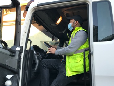 Indiana Truck Driver Wearing a Mask During the Covid-19 Pandemic