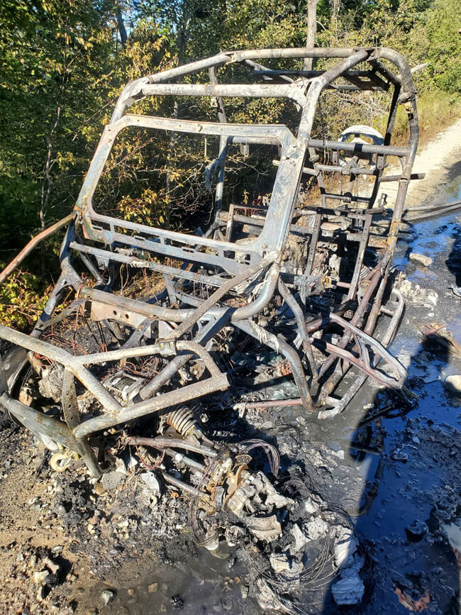 The front view of the burnt remains of a Polaris RZR, taken in Maine.