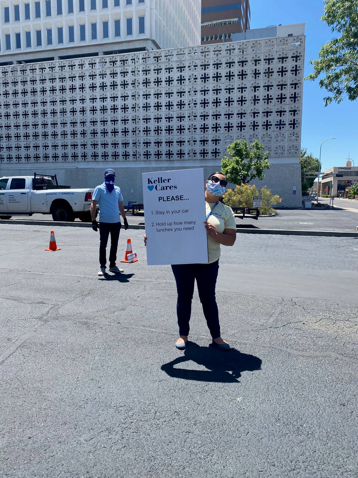 Safety precautions during Keller Cares' Albuquerque lunch giveaway.