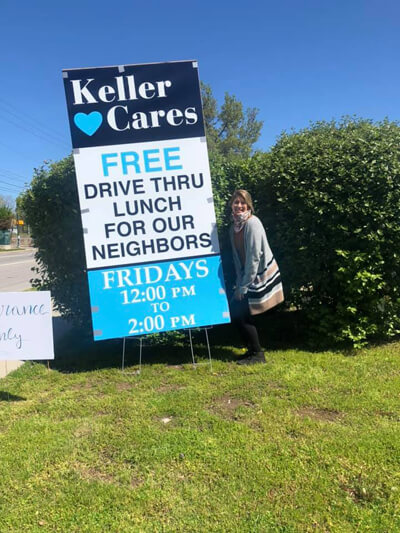 Keller & Keller's drive thru lunch, a Keller Cares initiative.