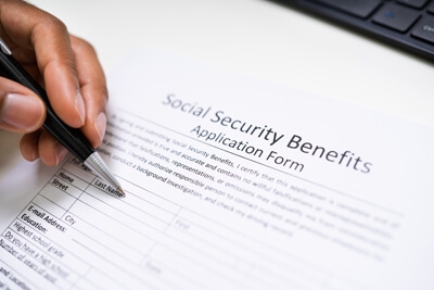Application form for Social Security disability benefits