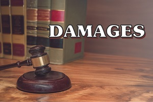 Legal damages concept illustrated with law books and gavel