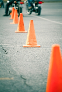 Motorcycle training course with orange cones