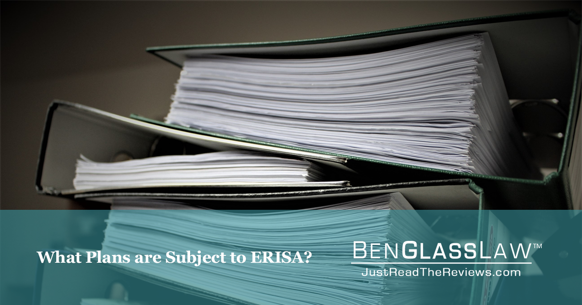 What Plans are Subject to ERISA?