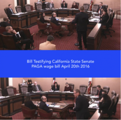 Bill Turley testyfing at the California Senate PAGA Hearing