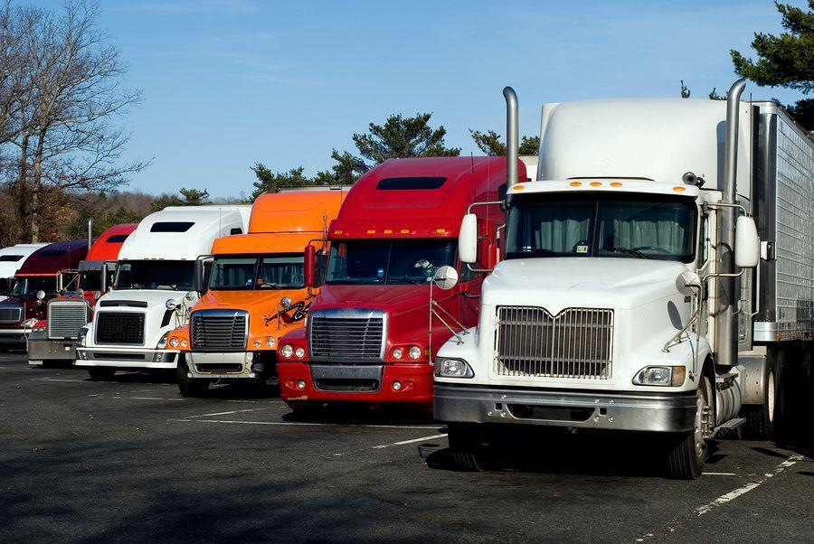 Semi-trucks parked.