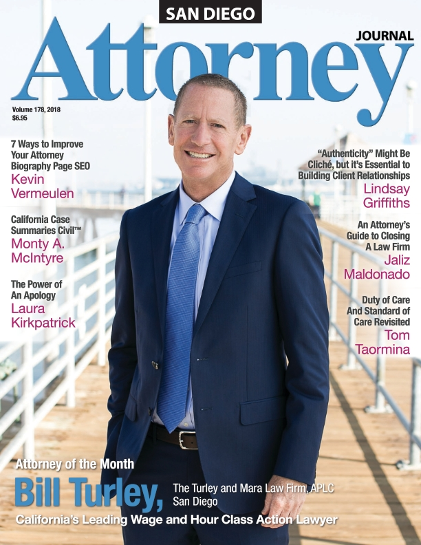 Bill Turley on the cover of San Diego Attorney Journal magazine