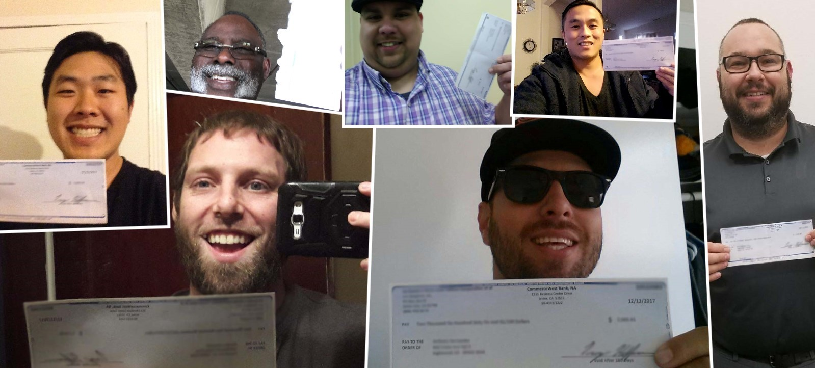 Clients with Smiles and Settlement Checks from a California unpaid wages case