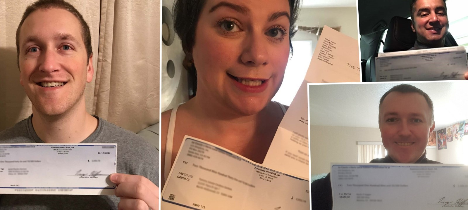 Happy clients with their settlement checks from a California unpaid wages case.