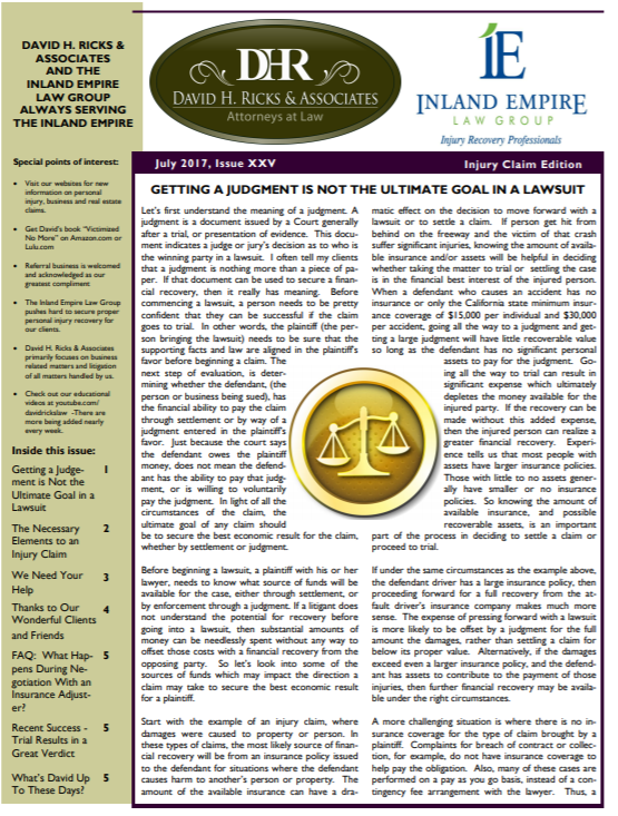 April 2018 Personal Injury Newsletter Cover
