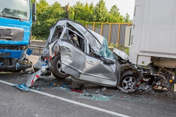 Aftermath of a Car and Truck Accident