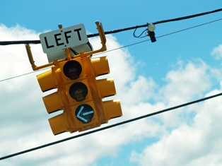 Left-Turn Traffic Signal on a Busy California Road