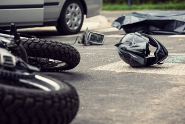 Motorcycle Debris in the Middle of the Road