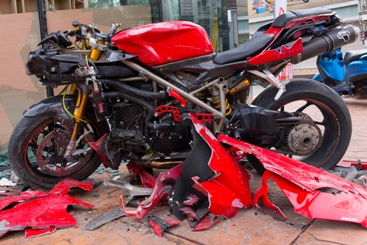 Motorcycle and Truck Wreck Aftermath