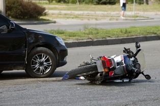Scene of a Motorcycle Wreck on a California Roadway