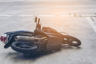 Motorcycle on the Ground After an Accident