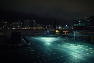 Partially Lighted Parking Lot