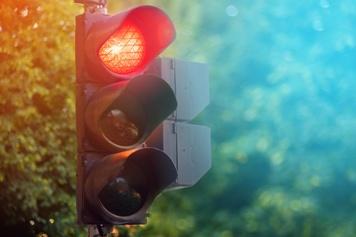 Red Traffic Light on a City Street