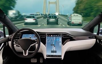 Tesla Autopolit on the Highway