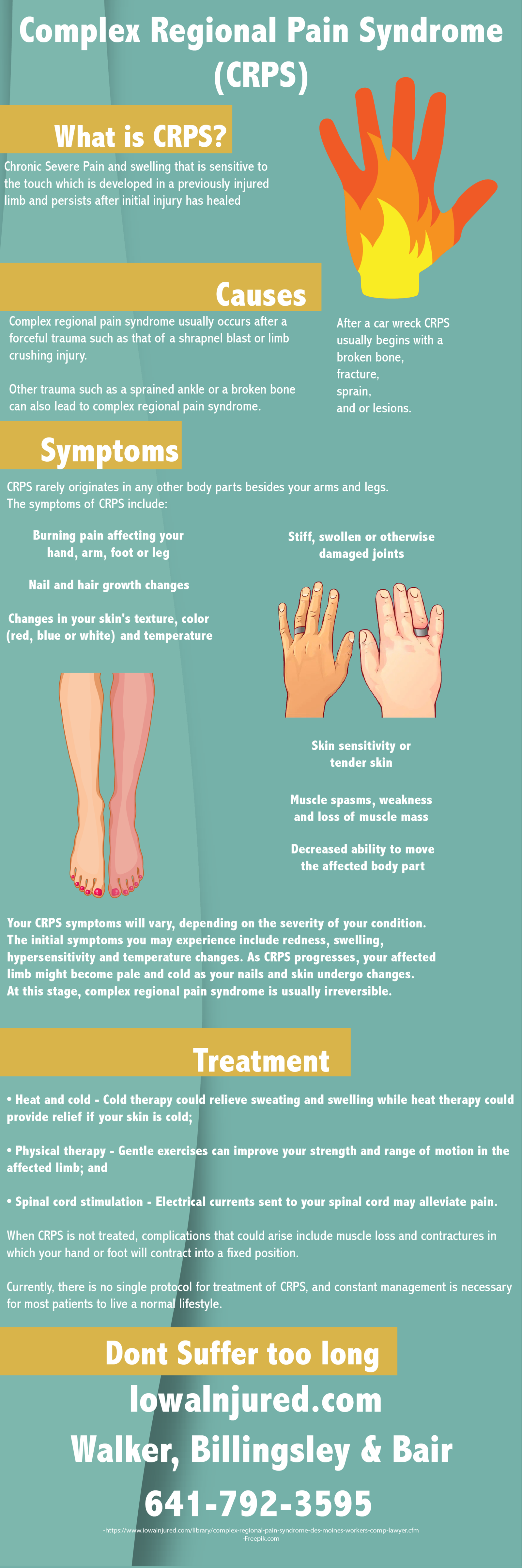 Complex regional pain syndrome crps infographic symptoms and causes