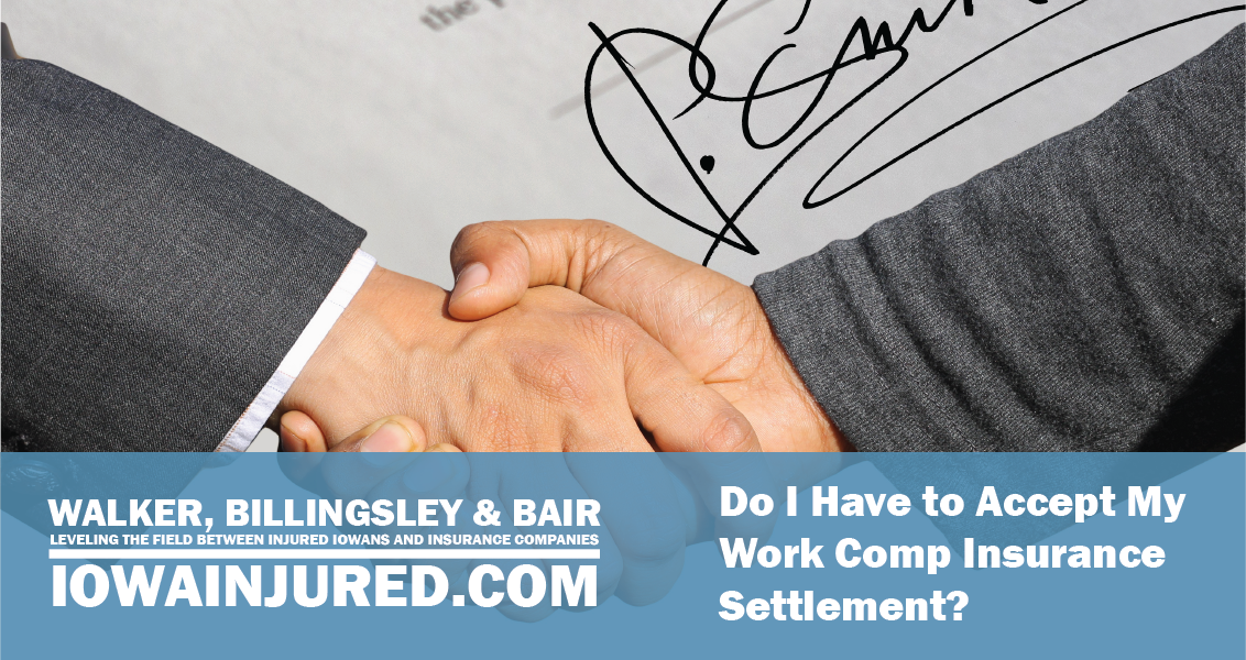 Do I Have to Accept My Work Comp Insurance Settlement? shaking hands in front of contract