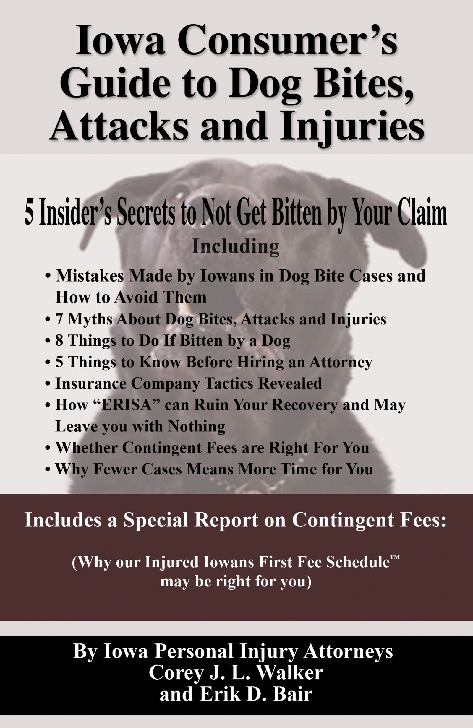 Iowa consumers guide to dog bite, attacks and injuries book written by iowa injury law firm