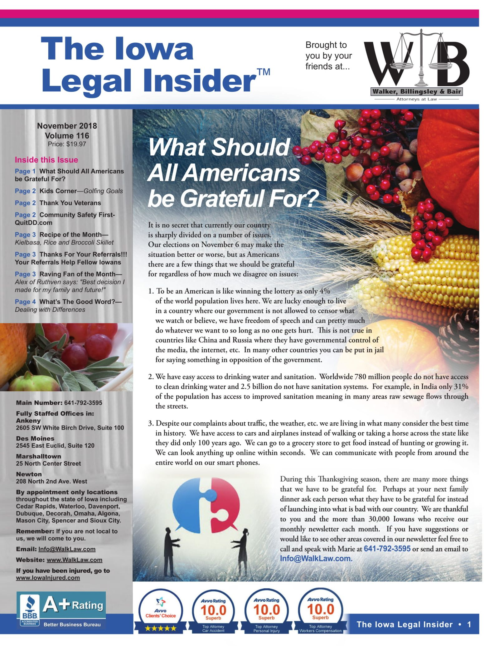 November legal insider 2018 what should Americans be great full for Iowa Personal Injury newsletter