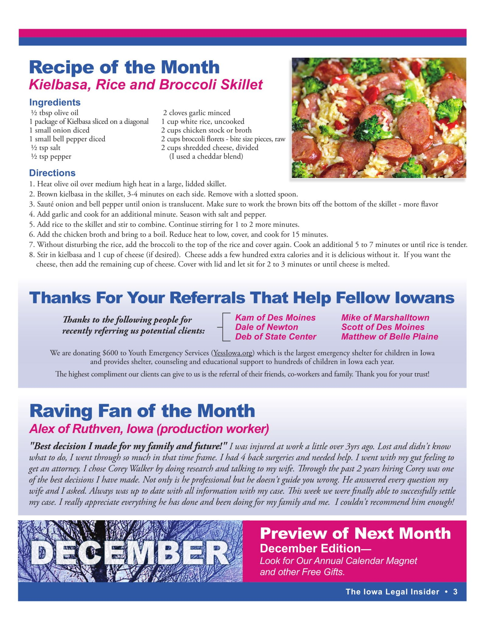 recipe of the month kielbasa rice and broccoli skillet November legal insider 2018 Iowa Personal Injury newsletter