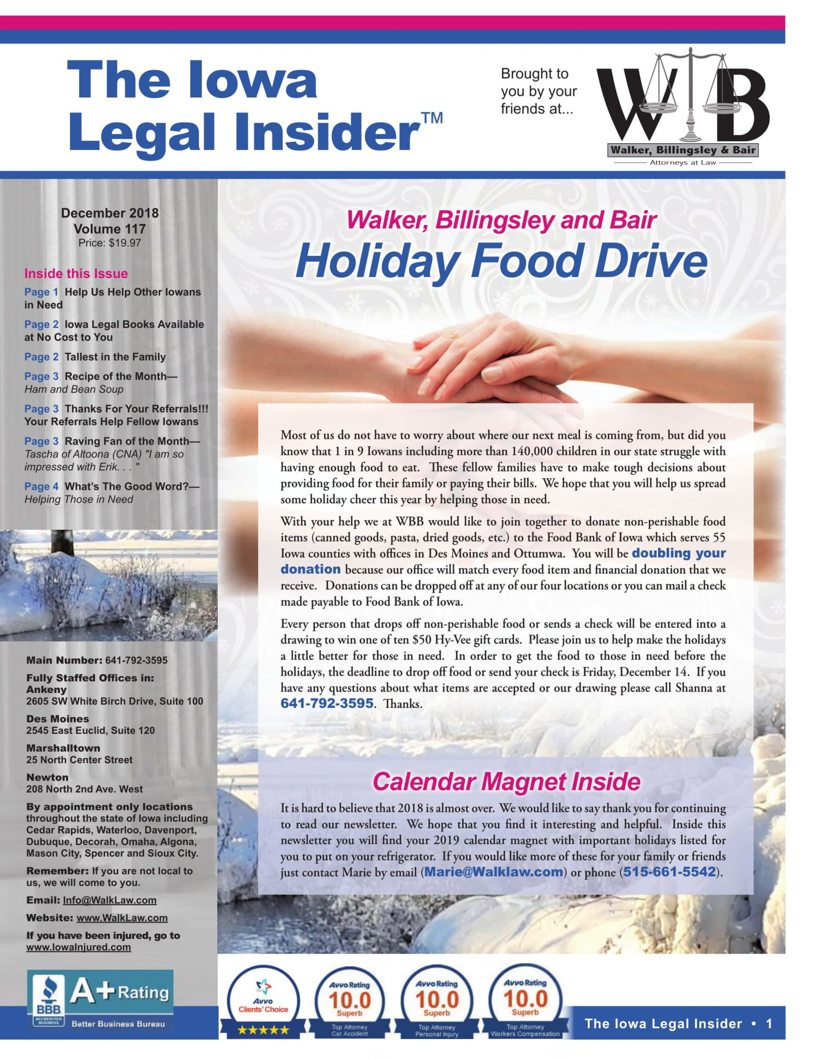 Iowa Legal Insider cover Holiday Food Drive