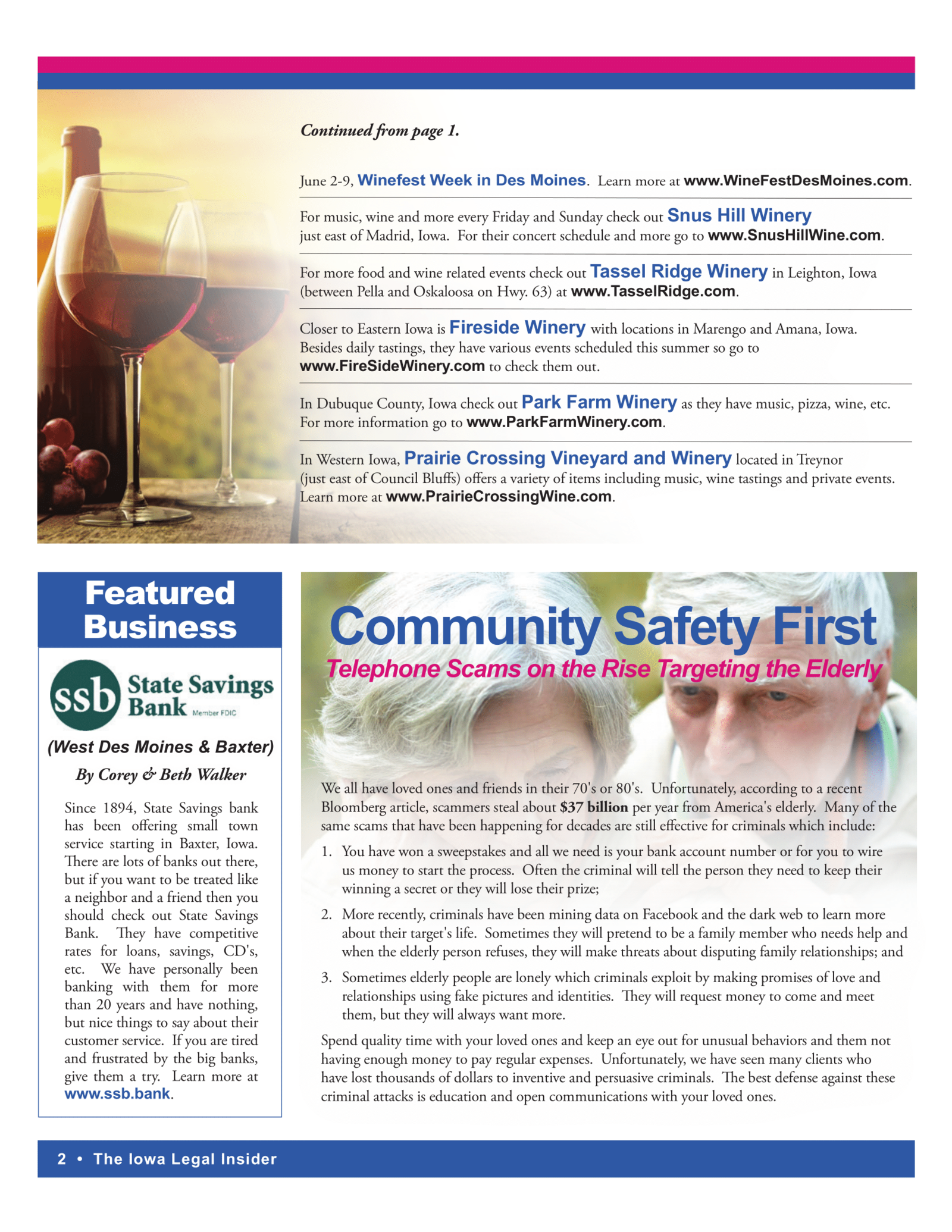 Iowa legal insider newsletter community safety