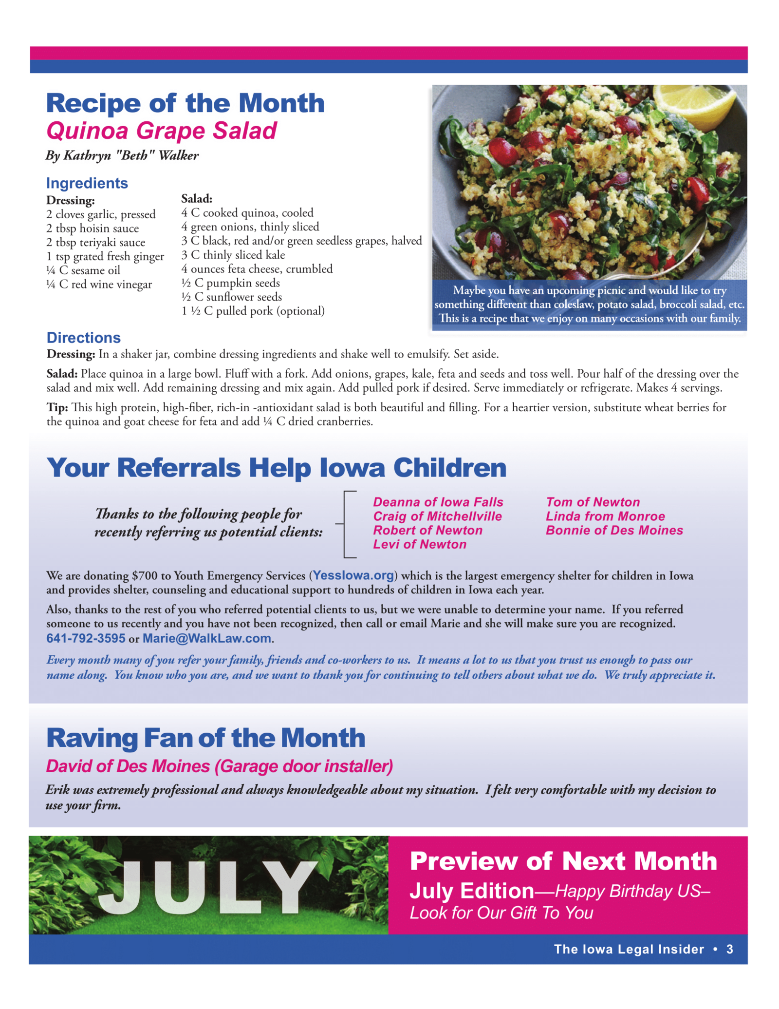 iowa legal insider newsletter recipe quinoa grape salad