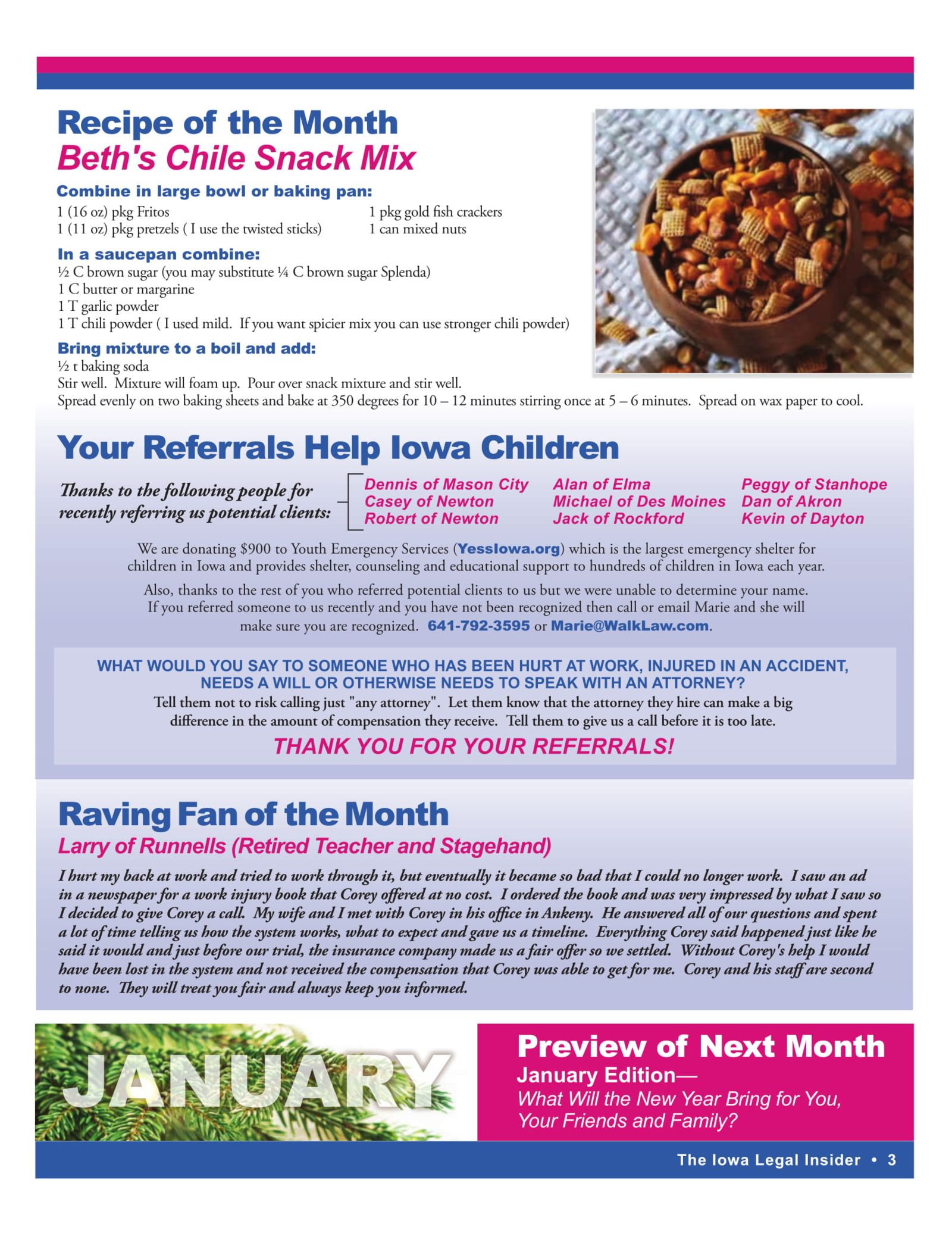 the iowa legal insider recipe of the month chile snack mix