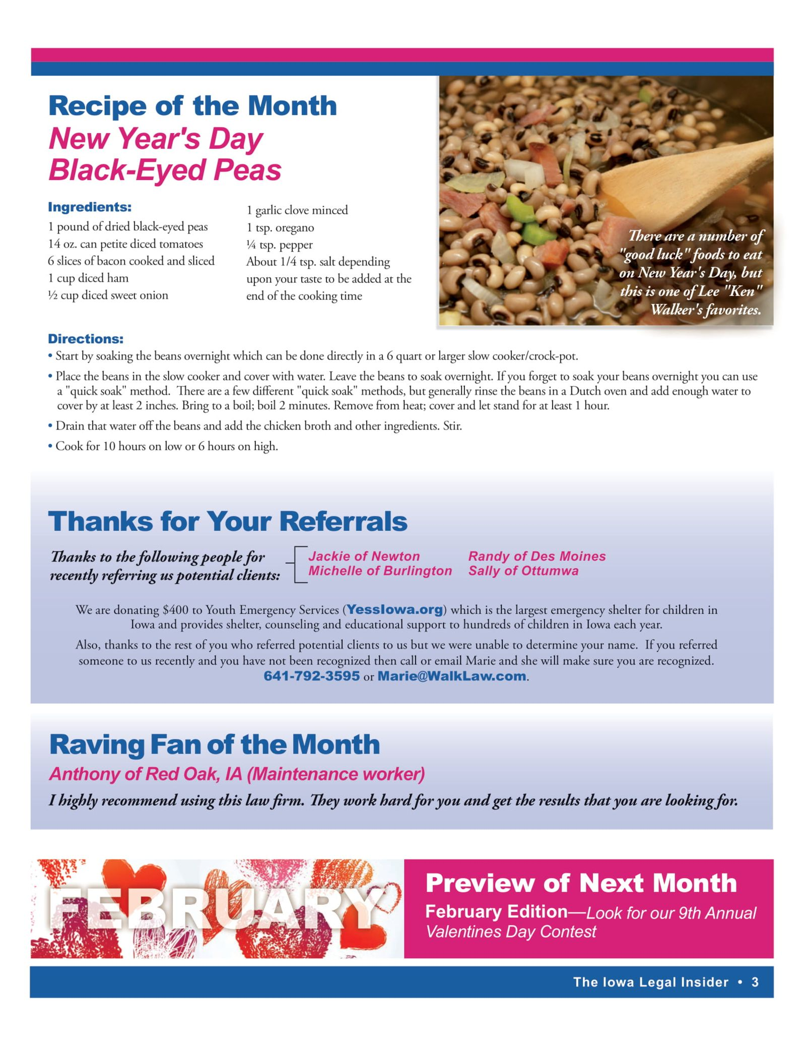 Recipe of the month New Year's Day Black Eyed Peas Iowa legal Insider
