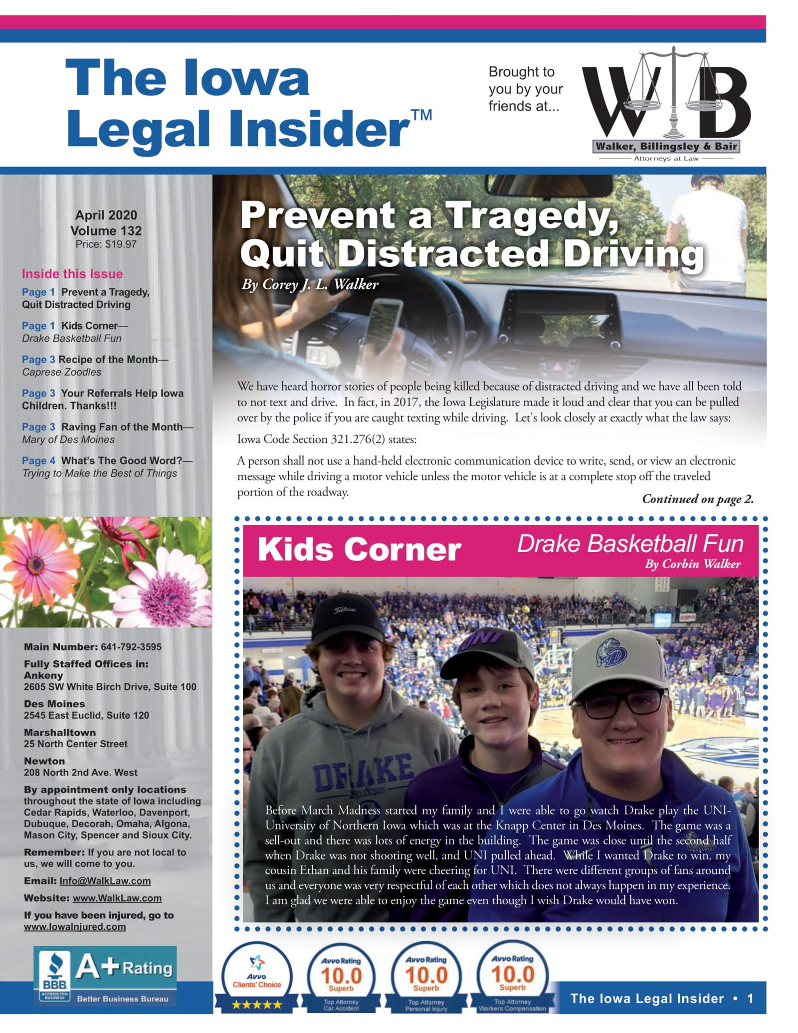 The iowa legal insider prevent quit distracting driving