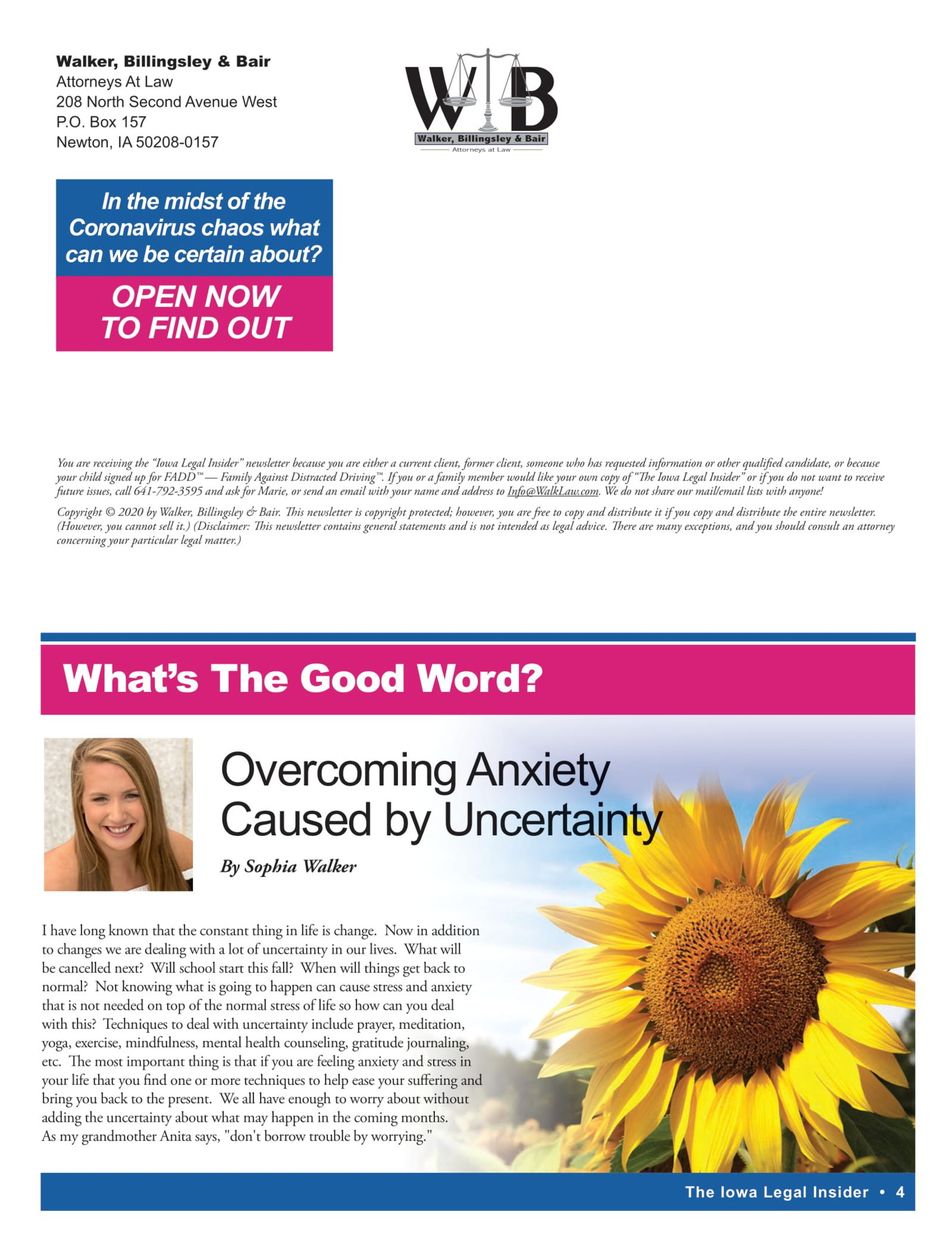 Iowa Legal Insider Overcoming Anxiety