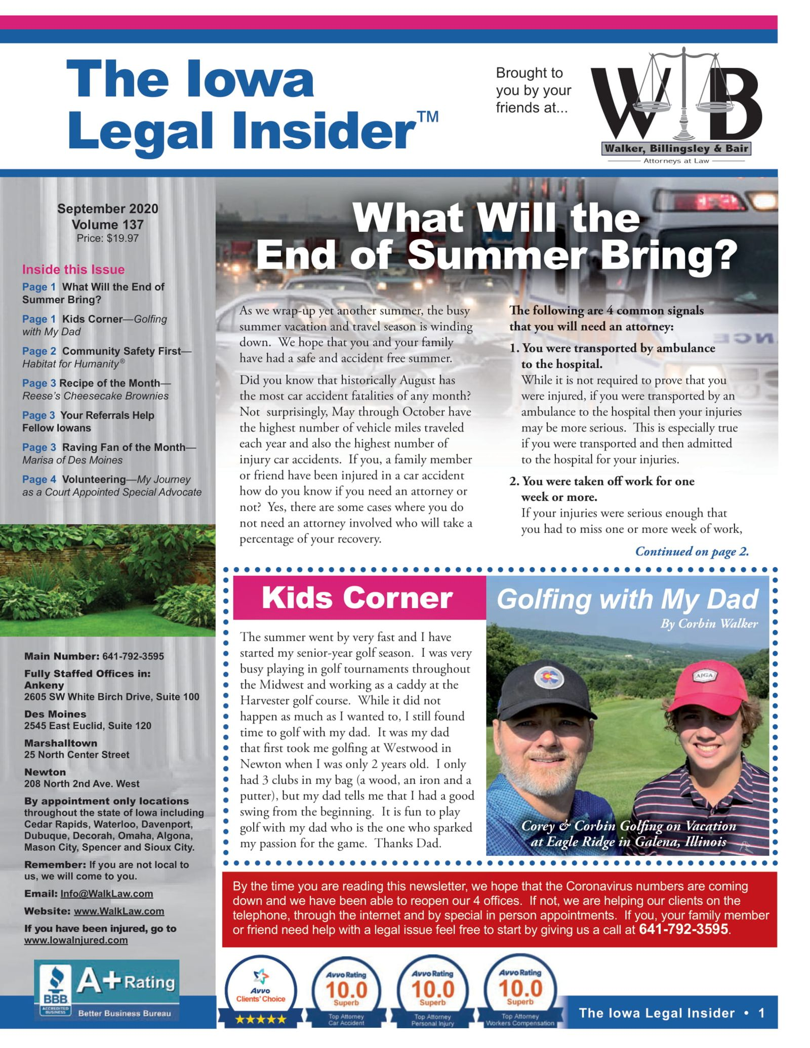 Iowa legal insider driving at the end of summer