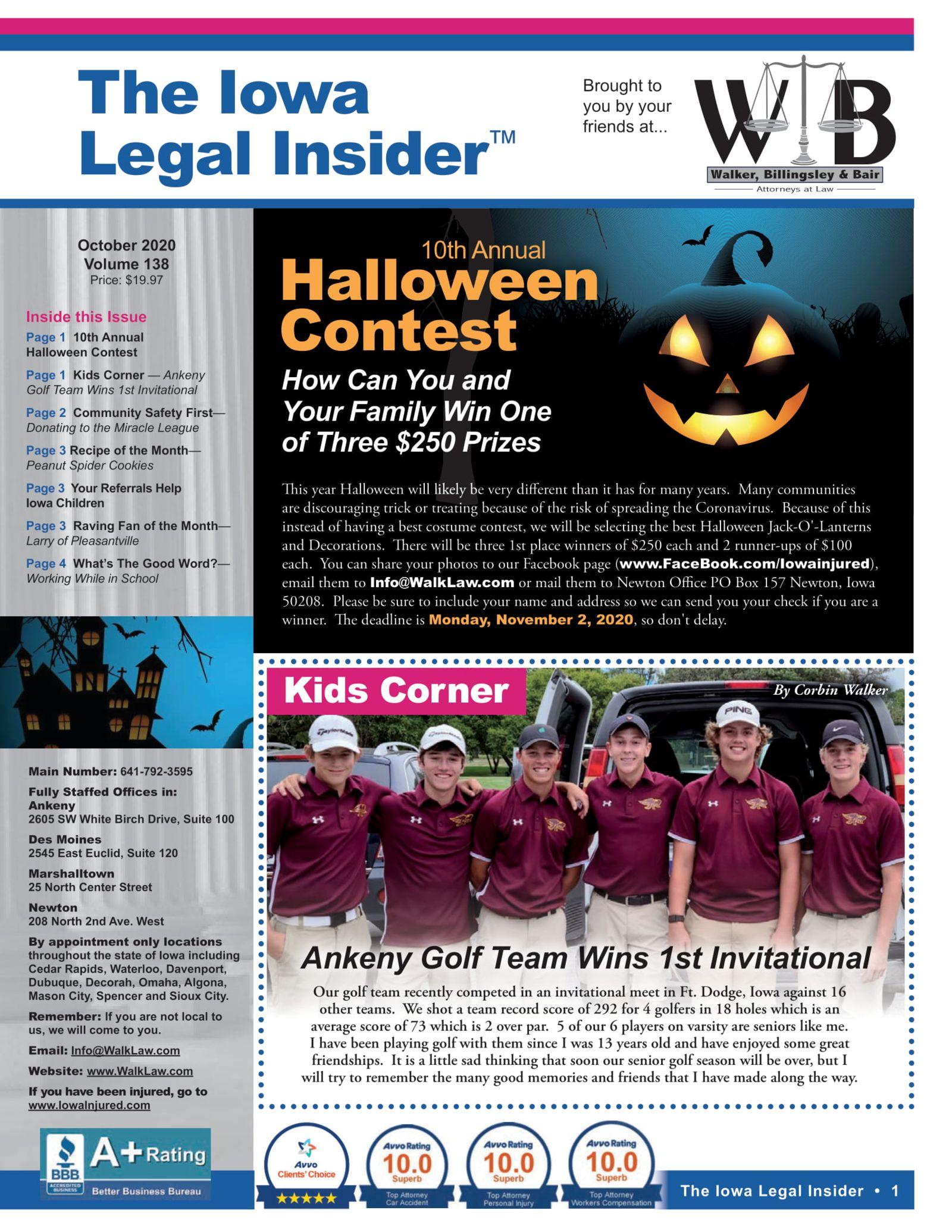 Iowa legal insider Halloween costume contest